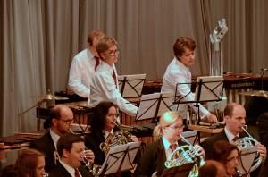 Das Horn- und ein Teil des Perkussionsregisters des Musikvereins Goldau