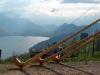 Wunderschöne Aussicht mit Hörnern von den Hinterbergen auf den Vierwaldstättersee, April 2004